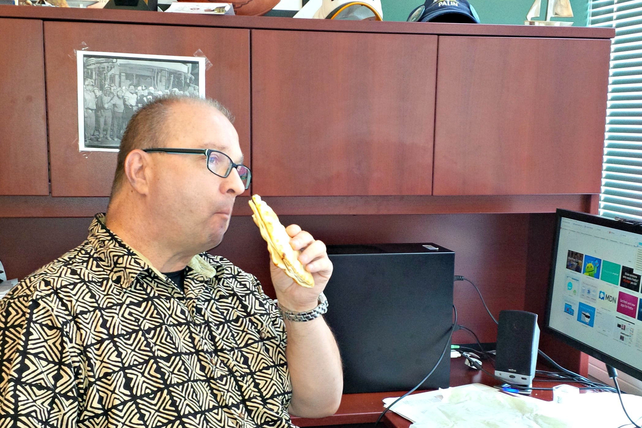 Jerry Eddy Eating a Sandwich